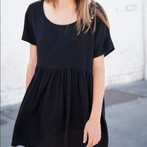 Brandy Melville Black Short Sleeve Babydoll Dress